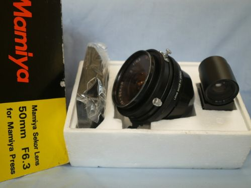 *RARE* Mamiya Sekor 50mm f6.3 Lens Boxed + Hood +Finder for MAMIYA PRESS + SUPER 23 + 600SE £299.99